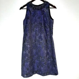 Maggy London Blue Brocade Floral Beaded Neck Dress
